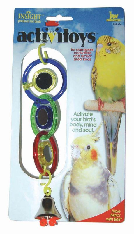 JW Pet Activitoy Triple Mirror w/Bell  Bird Toy