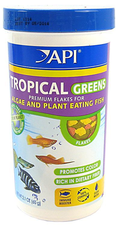 API Tropical Fish Greens Flake Food 2.1 oz.
