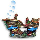Blue Ribbon Shipwreck with Sharks Ornament