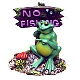 Blue Ribbon Frog No Fishing Sign Ornament