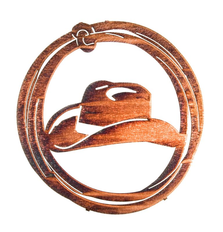 Cowboy Hat Lasso Wall Art Weather Leather Best Price