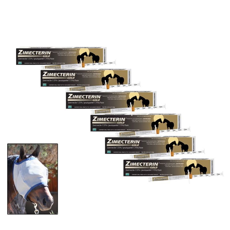Zimecterin Gold 6-Pack with FREE Defender Fly Mask