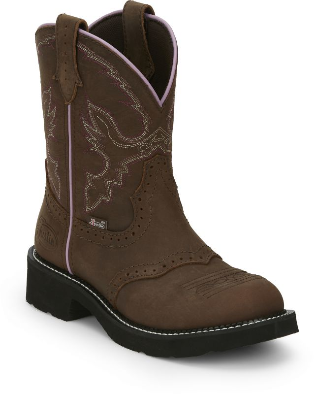 justin ladies 8in gypsy boot 7.5 black/suede deerc on lovemypets.com
