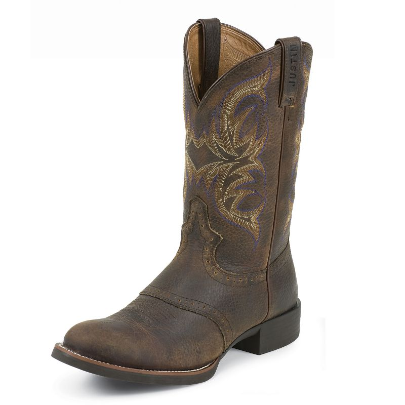Justin Mens Stampede Cattleman Boots Brown