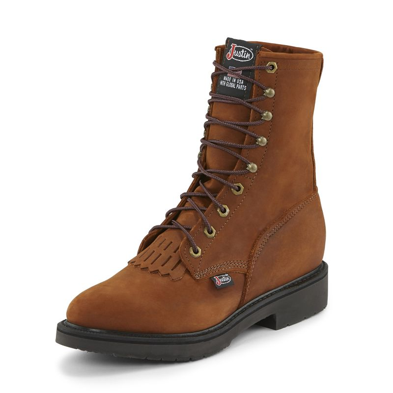 Justin Mens Double Comfort Lacer Work Boots