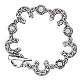 Horseshoe and Rhinestones Charm Bracelet
