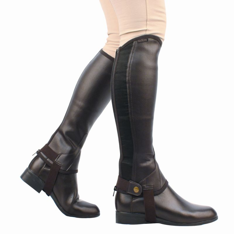 Saxon Equileather Childs Half Chaps (Black or Brown)
