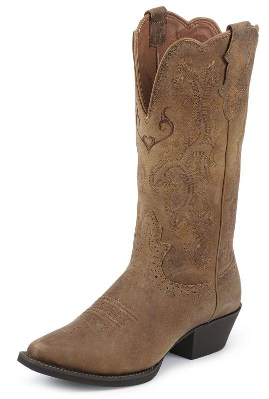Justin Ladies Stampede Tan Cowhide Boots