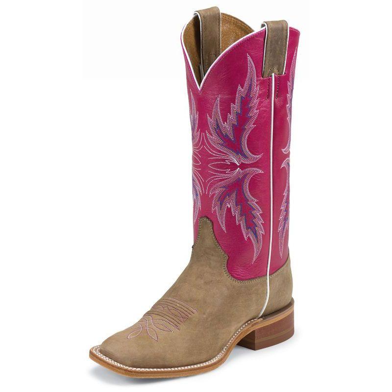 Justin Ladies Bent Rail Sq Toe 13in Boot Pink