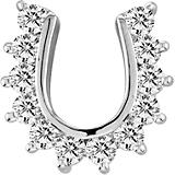 K Herd Studded 14K White Gold Horseshoe Pendant