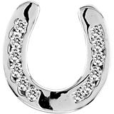 K Herd 14K White Gold Horseshoe Sparkle Pendant