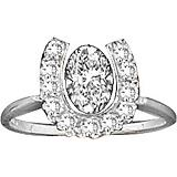 Kelly Herd 14K White Gold Horseshoe Oval Ring