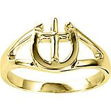 Kelly Herd 14K Gold Horseshoe and Cross Ring