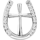 14K White Gold Elegant Horseshoe Cross Necklace