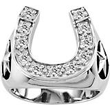 KH 14K White Gold Mens Stars and Horsehoe Ring