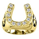 Kelly Herd 14K Gold Mens Stars and Horsehoe Ring