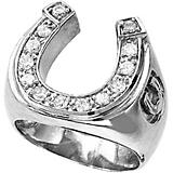 Kelly Herd 14K White Gold Mens Horseshoe Ring