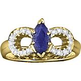 Kelly Herd 14K Gold Blue Double Horseshoe Ring