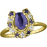 Kelly Herd 14K Gold Blue Horseshoe Ring