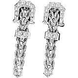 KH 14K White Gold Braided Rope Buckle Earrings