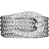 14K White Gold Bling Rope Braided Buckle Ring