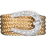 14K Gold Rope Bling Braided Buckle Ring