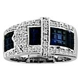 KH 14K White Gold Beautiful Sapphire Buckle Ring