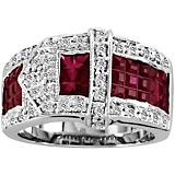 K Herd 14K White Gold Beautiful Ruby Buckle Ring