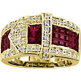 Kelly Herd 14K Gold Beautiful Ruby Buckle Ring