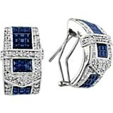 14K White Gold Beautiful Sapphire Buckle Earrings