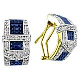 KH 14K Gold Beautiful Sapphire Buckle Earrings