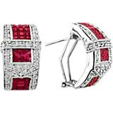 KH 14K White Gold Beautiful Ruby Buckle Earrings