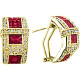 K Herd 14K Gold Beautiful Ruby Buckle Earrings