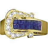 Kelly Herd 14K Gold Sapphire Elegant Buckle Ring