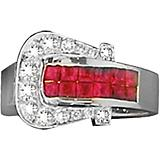 K Herd 14K White Gold Ruby Elegant Buckle Ring