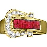 Kelly Herd 14K Gold Ruby Elegant Buckle Ring