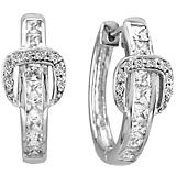 KH 14K White Gold Elegant Buckle Diamond Earrings