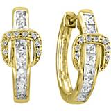 K Herd 14K Gold Elegant Buckle Diamond Earrings