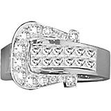 KH 14K White Gold Diamond Elegant Buckle Ring