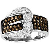 14K White Gold Chocolate Diamond Pve Buckle Ring