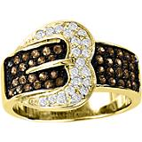 KH 14K Gold Chocolate Diamond Pave Buckle Ring