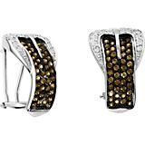 14K White Gold Chocolate Diamond Buckle Earrings