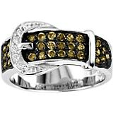 KH 14K White Gold Chocolate Diamond Buckle Ring