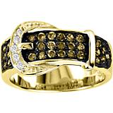 K Herd 14K Gold Chocolate Diamond Buckle Ring