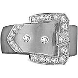 K Herd 14K White Gold Large Squared Buckle Ring