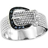 Kelly Herd 14K White Gold Black Buckle Ring
