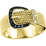 Kelly Herd 14K Gold Black Buckle Ring