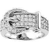 K Herd 14K White Gold Diamond Pave Buckle Ring