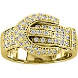 Kelly Herd 14K Gold Diamond Pave Buckle Ring