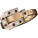 Kelly Herd 14K Gold Ruby Ornate Buckle Ring